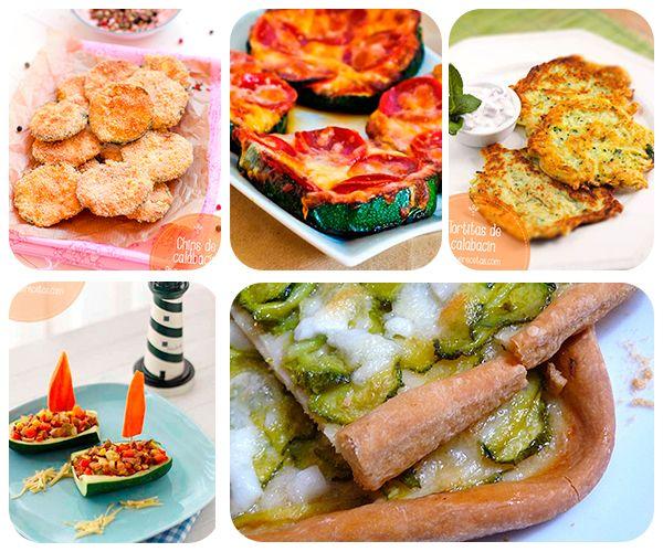 5 recetas fáciles y divertidas con calabacín. Recetas con calabacín para niños. barquitos de verdura, pizza vegetal, tortitas de calabacín, chips de calabacín y pizza de calabacín.
