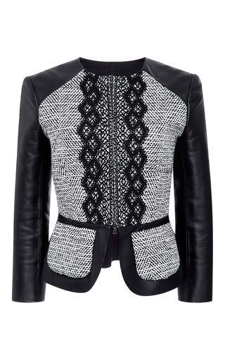 Boucle Twill And Leather Jacket by OSCAR DE LA RENTA for Preorder on Moda Operandi