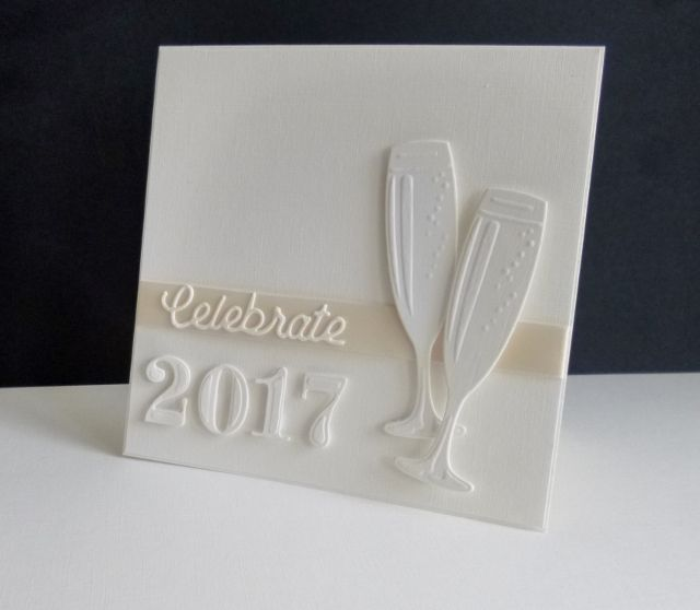 Today's challenge is - A New Year Card - I put some ribbon on the panel and added the word to it with spray glue. I die cut the numbers and glasses twice for dimension and then popped them up with foam pads.  May I wish you all a healthy and peaceful 2017 x