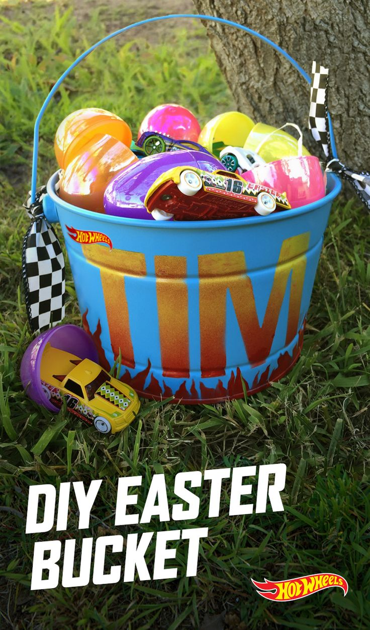 Surprise your kids with this DIY personalized bucket for their Easter egg hunt. Paint it with flames or come up with your own design — the possibilities are endless!