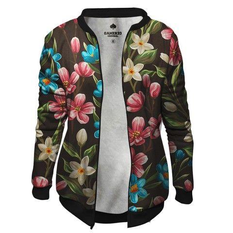 Jaqueta Bomber Feminina de Moletom Floral Marron Flores Tropicais