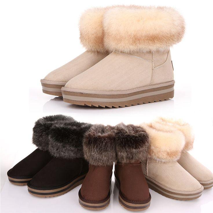 Снегоступы лиса меховые сапоги короткие зимние сапоги женская обувь женская обувь хлопка мягкой обуви размер 35-39