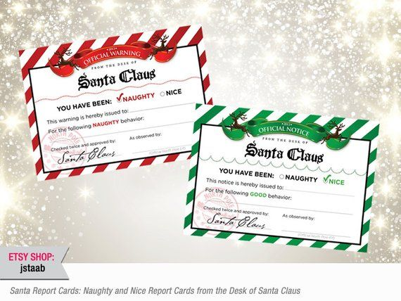 Santa Claus Elf Report Cards Naughty And Nice Elf Report Etsy Elf Report Card Santa Claus Elves Christmas Labels