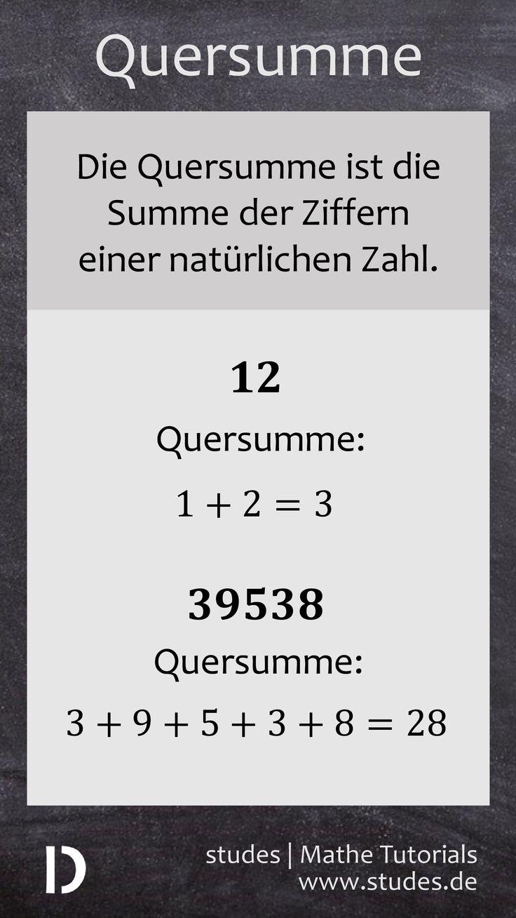 Quersumme: Die Quersumme ist die Summe der Ziffern einer natürlichen Zahl   studes.de  #Quersumme #Teilbarkeit #Summe #Mathe #Mathematik #Spickzettel #Spicker #Schule #Abitur #Rechnen – studes