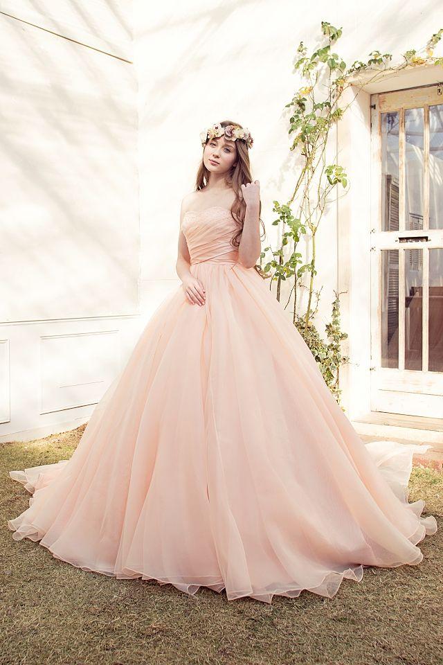 優しいサーモンピンクが大人可愛いカラードレス|SS4187AP