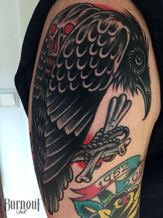 Black Crow Tattoo by Christian Otto | BURNOUT INK TATTOO PARLOUR | Palma de Mallorca, Spain, Tattoo Mallorca, Tatuajes Palma de Mallorca, Tättowierungen Mallorca