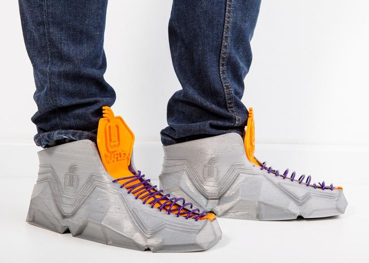 These shoes are 3D-printed using flexible, durable filament so they can be folded up and stuffed into a pocket or bag.