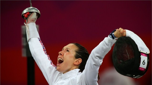 Samantha Murray of Great Britain celebrates during the fencing in the women's Modern Pentathlon on Day 16 of the London 2012 Olympic Games