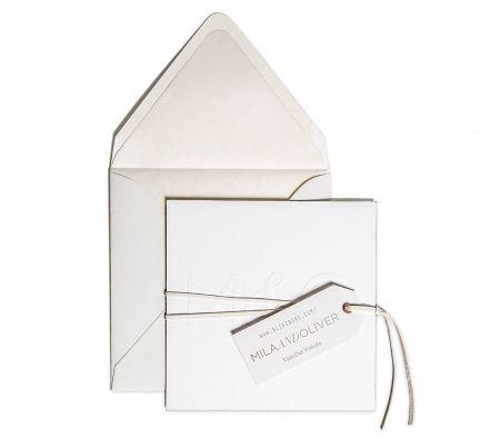 Letterpress Save-the-Date / Emboss / Brushed Copper Edges / White Leather Lace / Letterpress Parchment Website Tag / Luxe White Envelope / Parchment Envelope Liner