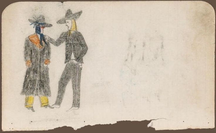 Рисунок из бухгалтерской книги, в рамке, Северные Шайены. Robert Ridgewalker. Приобретены в 1901 году; Morning Star Gallery, Санта Фе. Bonhams, декабрь 2008. Сан Франциско