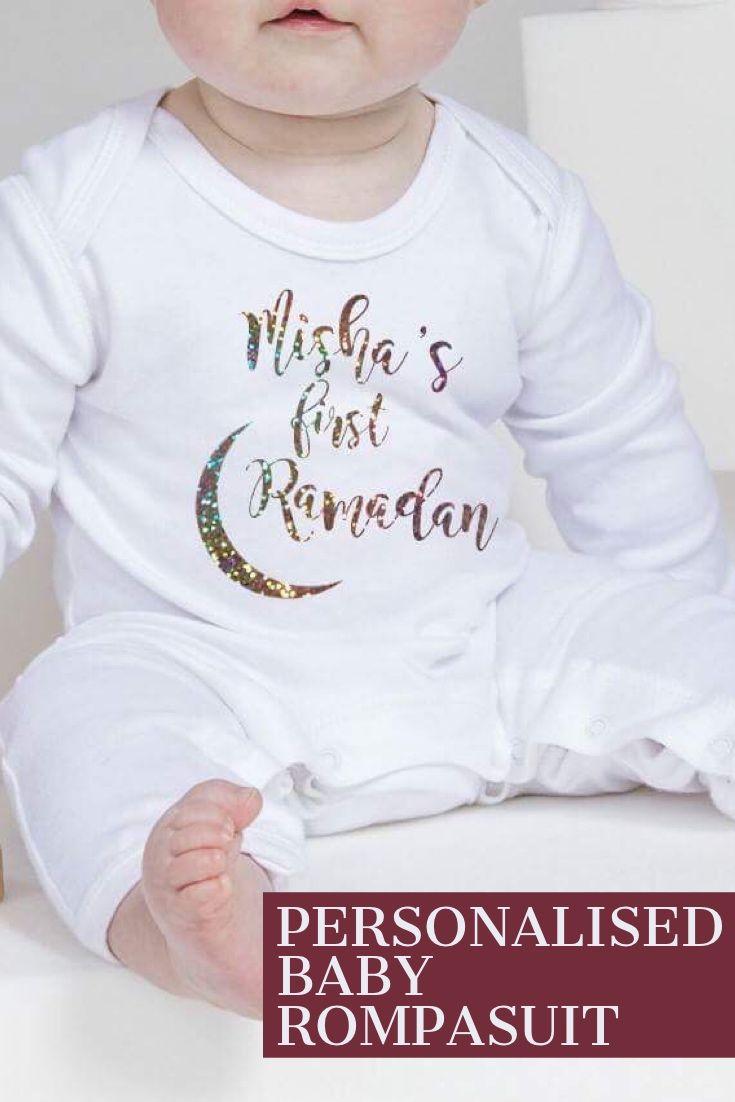 0c45dd2b2 Personalised Baby Romper Add name First Eid Ramadan | Babywear ...