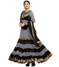 Buy Silver georgette embroidered semi stitched salwar with dupatta anarkali-salwar-kameez online