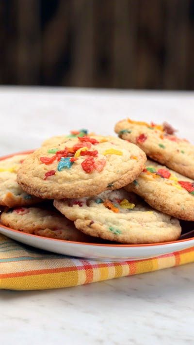 Besmirch your childhood with these delicious vodka-soaked Fruity Pebbles sugar cookies.