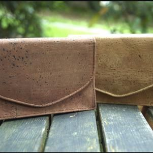 Cosmetic cork bag with small mirror inside. Sustainable, fashionable and stylish