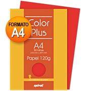 Papel 120g 210x297 color plus vermelho Spiral PT 50 FL  Embalagem   Contém 50 folhas   Formato A4 (210 x 297)   Gramatura:120g  $16,20