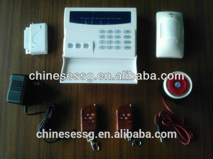 """433Mhz wireless alarm system kit with package content: door contact,PIR motion sensor,remote control,wired siren"""