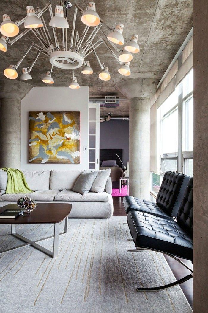 Wohnzimmerlampe Beleuchtung Mit Industriellen Elementen