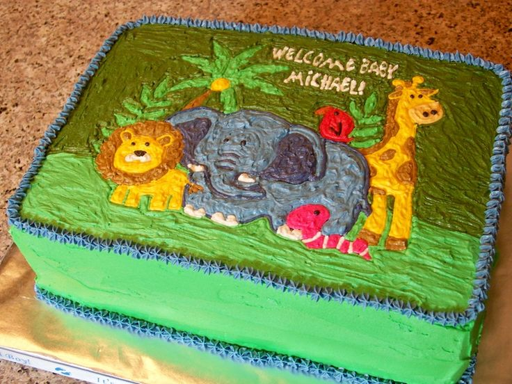 Missy here is one. Jungle Themed Baby Shower Sheet Cake - My Batter Half Bakery