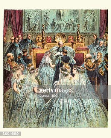 Vintage engraving of Queen Victoria's wedding to Prince Albert.