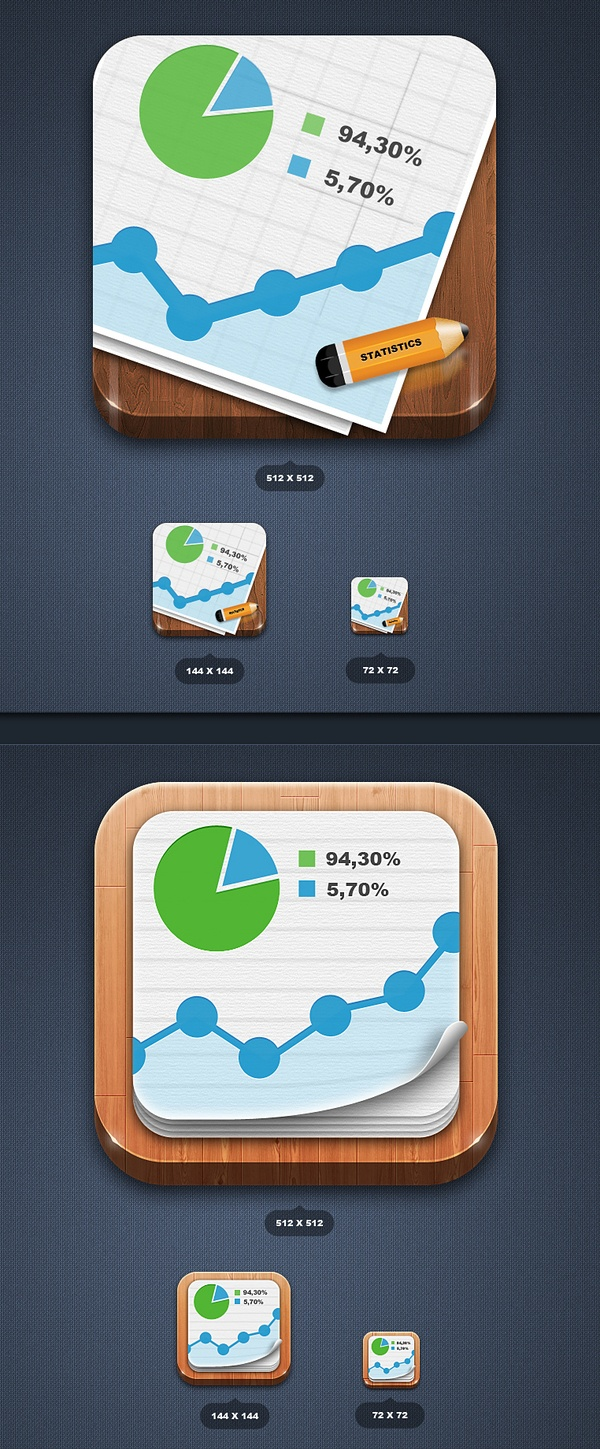 Statistics app icon by Edward Northwood, via Behance