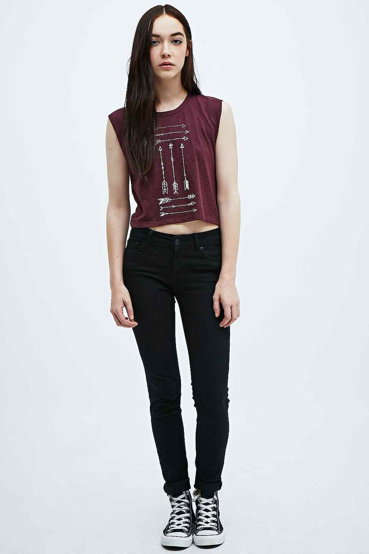 Part Fiction Native Arrow Crop Tank in Burgundy. Urban outfitters