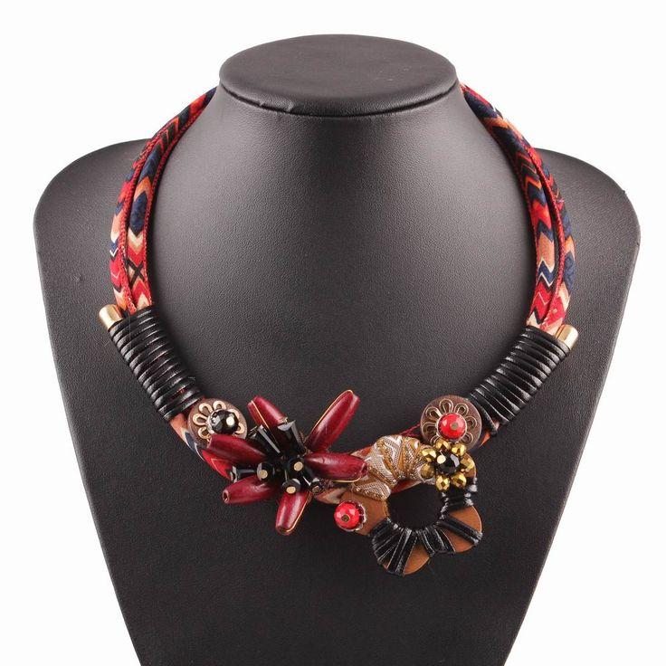 Купить товар2017 новый ручной рождественские украшения нагрудник красный веревку цепи винтаж коренастый себе дерево цветок ожерелье для женщин в категории Подвескина AliExpress.