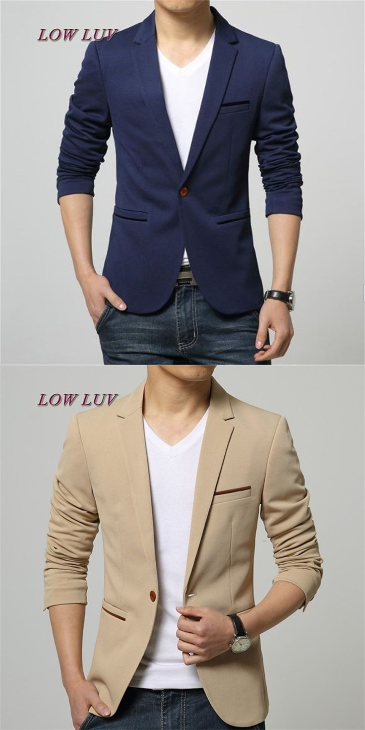 Mens Korean slim fit fashion cotton blazer Suit Jacket black blue beige plus size M to 5XL Male blazers Mens coat Wedding dress