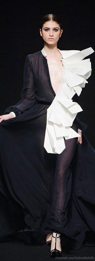 Origami Fashion details - long black shirt dress with folded white fabric like crisp white paper // Stephane Rolland