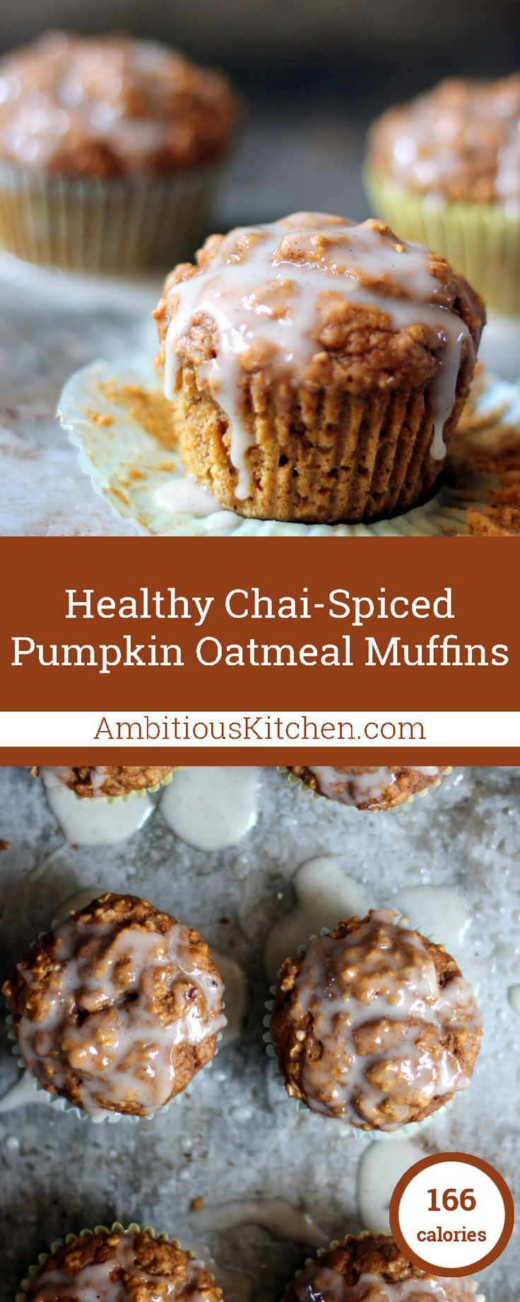 Healthy Chai-Spiced Pumpkin Oatmeal Muffins with a lovely cream cheese vanilla bean glaze!