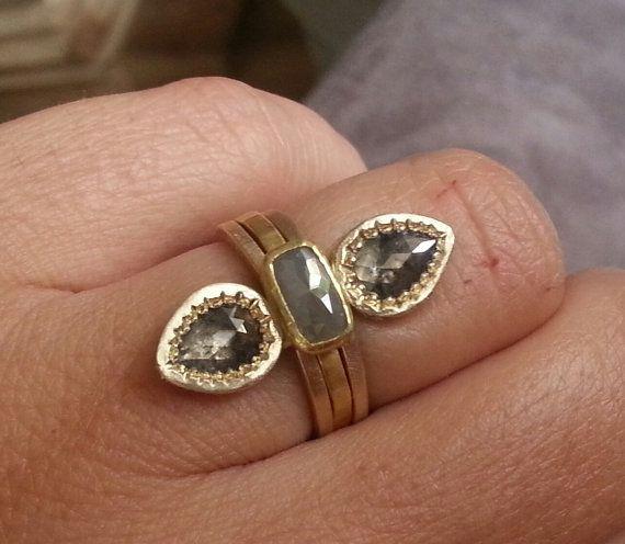 Rose cut diamond ring pear diamond ring pave diamond by CJbijoux