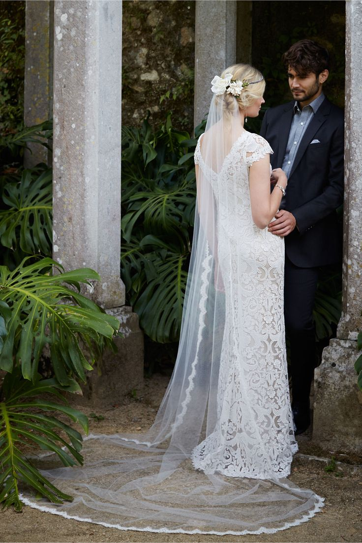 """""""August"""" -- Lace Column/Sheath Bridal Gown Showcasing: A Beautiful Bateau Neckline, Lace Cap Sleeves, Plunging V Back (Back View, Shown Here In Ivory); by Tadashi Shoji for BHLDN·····"""