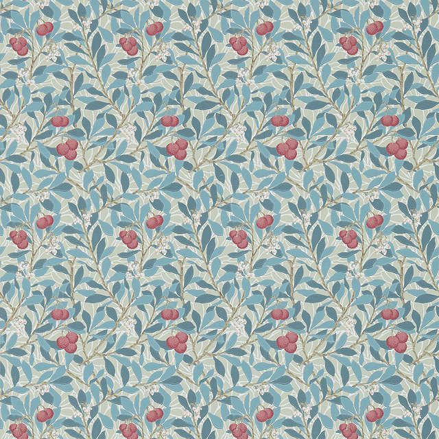 BuyMorris & Co Arbutus Wallpaper, Woad/Russet, DM3W214718 Online at johnlewis.com