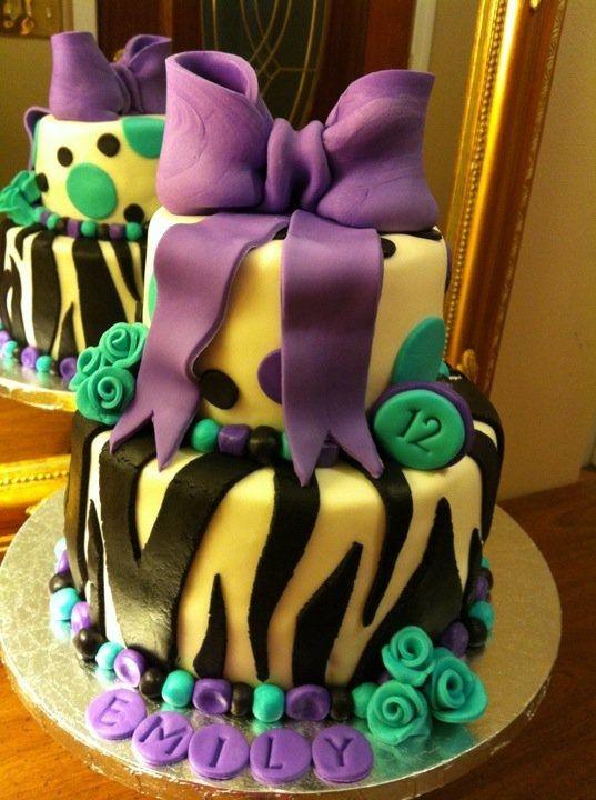 fondant 12 year old girl birthday cake   Zebra birthday cake — Birthday Cakes