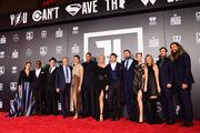 "(L-R) Actors Diane Lane, Joe Morton, JK Simmons, producer Chuck Roven, actors Gal Gadot, Ray Fisher, Connie Nielsen, Ezra Miller, Ben Affleck, Amber Heard, producer Deborah Snyder, actors Henry Cavill and Jason Momoa attend the premiere of Warner Bros. Pictures' ""Justice League"" at Dolby Theatre on November 13, 2017 in Hollywood, California."