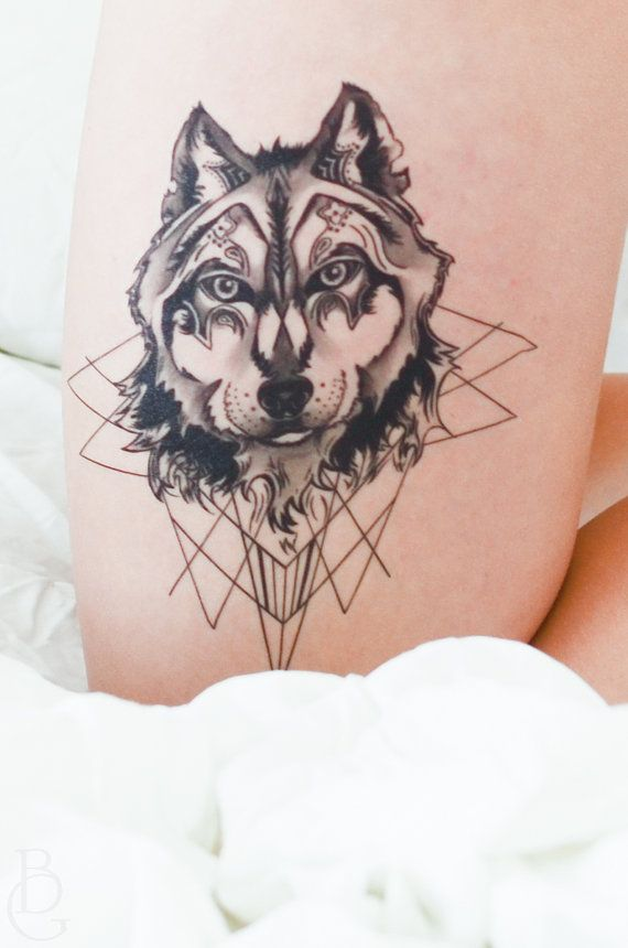 Geometric Wolf Temporary Tattoo by SeventhSkin on Etsy