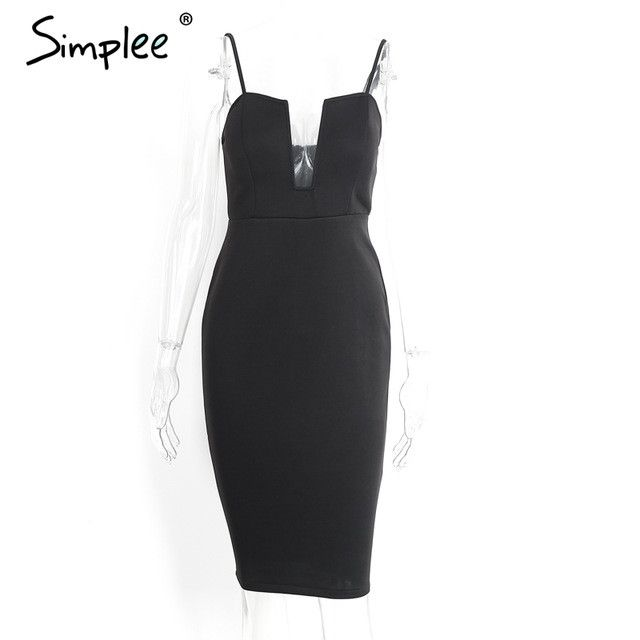 Sexy deep v neck black dress Women elegant sleeveless summer dress Zipper backless party dresses