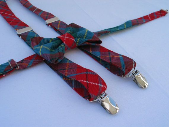 British Columbia Tartan Suspenders and Bow Tie by dolldressedup