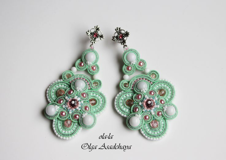 """earrings-""""Spring breeze in the garden""""  soutache, white jade, white agate, quartz, glass beads, Czech and Japanese, accessories, Nat. skin."""