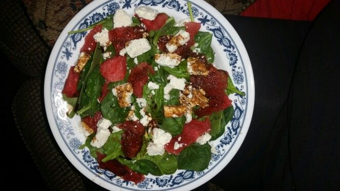 Watermelon, Spinach and Feta Salad with Balsamic Dressing