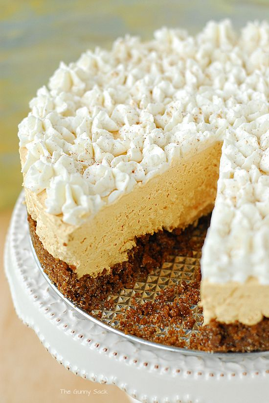 This pie's filling is made by whipping a cream cheese pumpkin batter into a light, fluffy cloud. A gingersnap crust also boosts the flavor profile.  Get the recipe at The Gunny Sack.   - CountryLiving.com