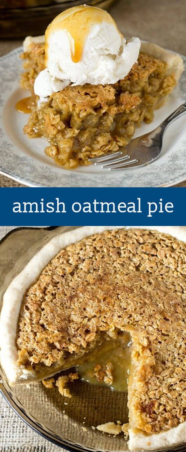 Comforting Amish Oatmeal Pie that tastes remarkably like pecan pie. Brown sugar gives a deep, rich flavor to this sweet, simple pie that is a favorite Amish country recipe. easy pie recipe / amish recipes / old fashioned recipe / dessert via @tastesoflizz