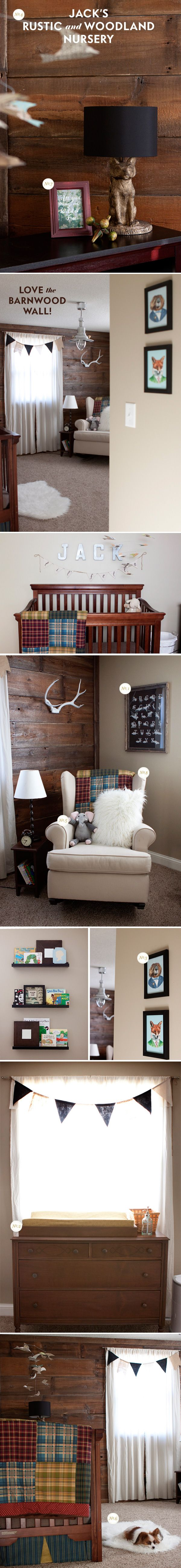 A rustic nursery with barnwood wall via Lay Baby Lay I could twist it to be gender neutral or for a girl! Love this!