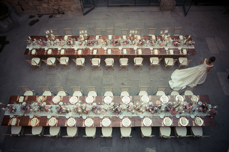 A detail of the 2 long tables used for the wedding dinner