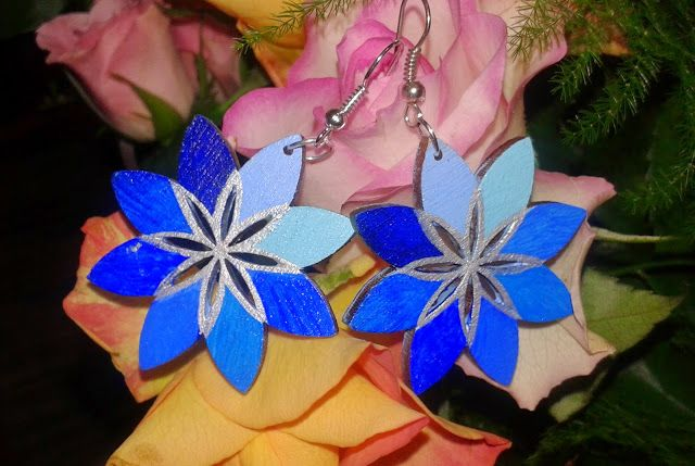 Sunflower - w wolnej chwili...: Kwiatki kolczyki - malowane ręcznie