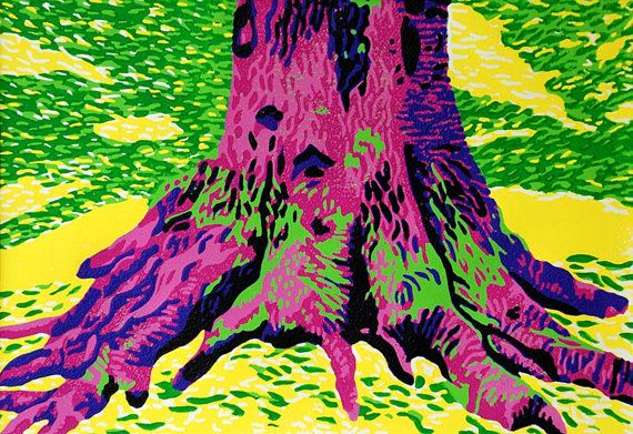 Colorful Reduction Linocut Print by Eveline van der Eijk