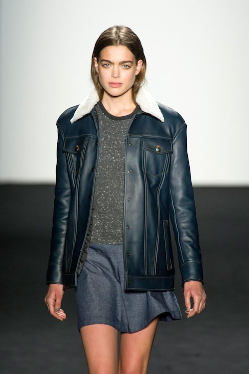 Timo Weiland navy leather jacket
