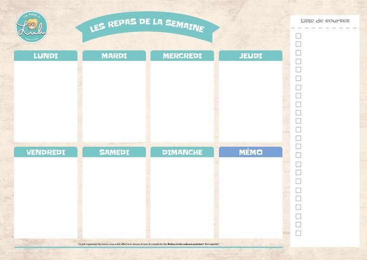 Fini la galère des #courses avec ce #semainier des #repas pour les #enfants ! Devenez un expert en #organisation à la #maison !! #lesboitesalulu
