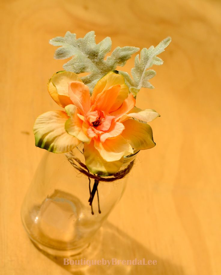 BRENDA LEE A set of 2 peach apricot delphinium flower U pin floral hair accessory  40929 by BoutiquebyBrendaLee on Etsy