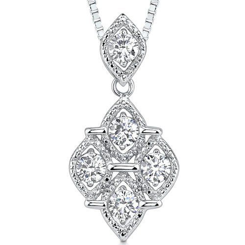 Perfect Glamour: Sterling Silver Rhodium Finish Celebrity Style Quatrefoil Dangle Pendant Necklace with 5mm Round Cubic Zirconia Peora. $29.99. Save 67%!