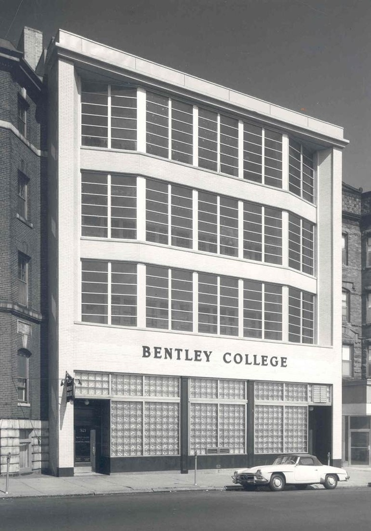 Bentley College, 921 Boylston Street, Boston, MA.  Photo of building is dated after a facelift in the summer of 1962.